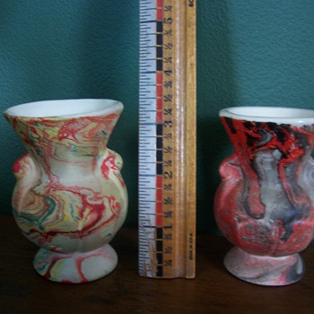 2 small vases, one from my Grandma and one from my wife's Grandma - Art Pottery