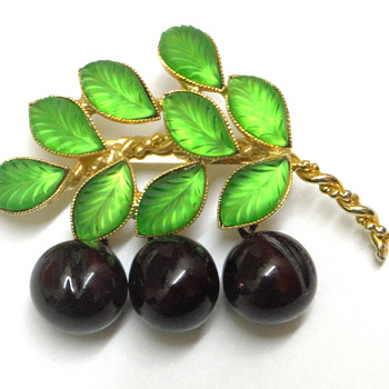 Cherry brooch with glass leaves. - Costume Jewelry