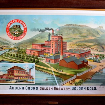 ORIGINAL 1900 COORS GOLDEN BREWERY LITHOGRAPH, in original frame with original brass plate stating date of 1900. - Breweriana