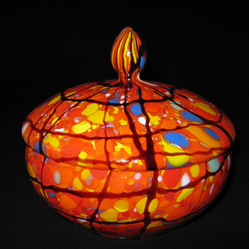 Czechoslovakia art glass covered powder dish Ruckl Orange Shimmy amethyst webb design - Art Glass