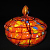 Czechoslovakia art glass covered powder dish Ruckl Orange Shimmy amethyst webb design