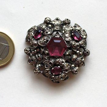 Old glass + marcasite brooch, 1930s Czechoslovakia? - Costume Jewelry