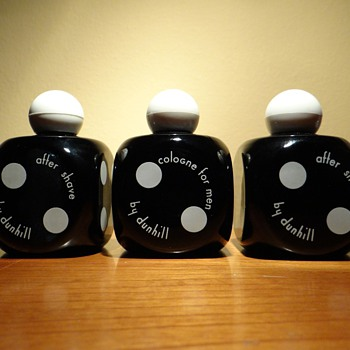 1940&#039;s ORIGINAL DUNHILL AFTERSHAVE AND COLOGNE BOTTLES DICE SHAPE - Bottles