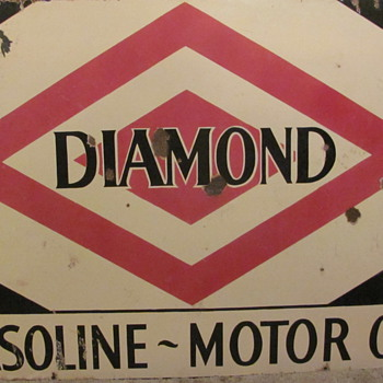 &quot;DIAMOND&quot;  &quot;GASOLINE~OIL&quot;  PORCELAIN STATION SIGN - Petroliana