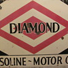 &quot;DIAMOND&quot;  &quot;GASOLINE~OIL&quot;  PORCELAIN STATION SIGN