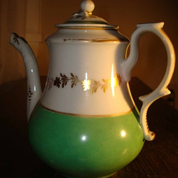 Green and White Teapot with Gilded Leaves and Trim - China and Dinnerware