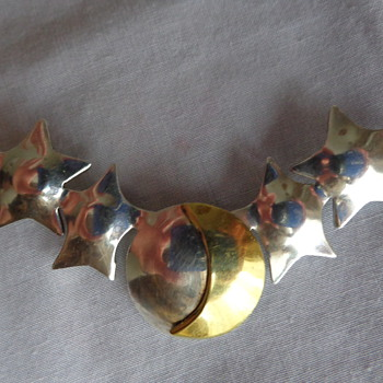 Mexican Silver Pin with Stars and Moon