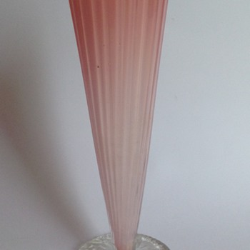 Victorian pale pink cased glass vase with applied circular foot - early Loetz?
