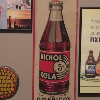 VINTAGE 1936 NIKHOL COLA METAL ADVERTISING SIGN! NICE!