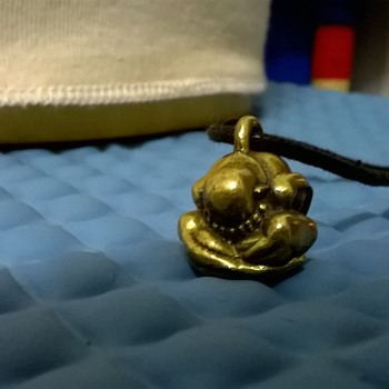 Little Bronze Yogi Weeping Buddha Pendant, Thrift Shop Find 95 Euro Cents ($1.01)