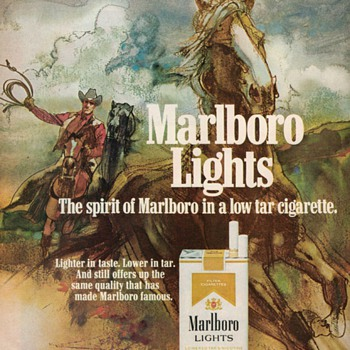 1976 - Marlboro Lights Cigarettes Advertisement - Advertising