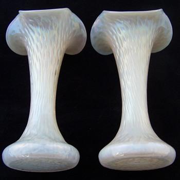 Kralik Martele Mother of Pearl Trumpet Vase Set - Art Glass
