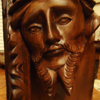 Jesus   Wood carving,  from log! WITH  Bette Davis Eyes!!! - Folk Art