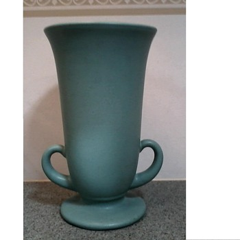 Mystery Solved ! Finally !! /Pfaltzgraff Art Pottery Vase /Matte Green Glaze/ Circa 1930-40