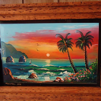 Mexico folk art- Finger Painting, Mazatlan, 1999 from thrift store $6 on glass and nice frame