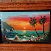 Mexico folk art- Finger Painting, Mazatlan, 1999 from thrift store $6 on glass and nice frame