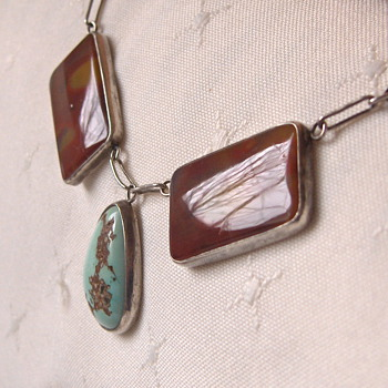 Unusual Old Turquoise & Brown Agate Stone Silver Link Necklace (Czech Deco) - Costume Jewelry