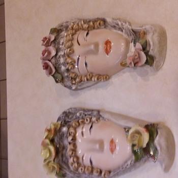 Todays Flea Market Finds Porcelain Lady Wall Masks - Mid-Century Modern