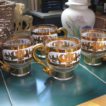Gold Embossed Cups  - Glassware