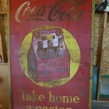 5'x8' Monster Coca-Cola 1939 3 panel tin sign - Coca-Cola
