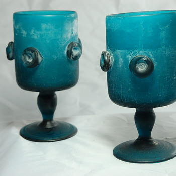 Teal Scavo Crackle Glass Goblets