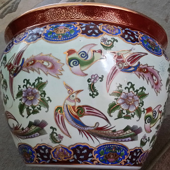 Decorative Vase / Planter. Birds and Fish. Origin Unknown