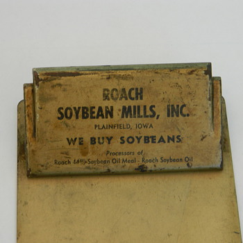 Heavy metal clipboard from Roach Soybean Mills, Inc. Plainfield, Iowa