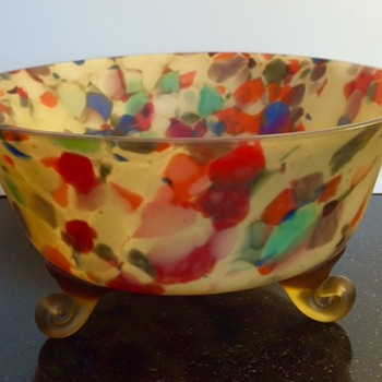 "Bohemian ""End-of-Day"" Spatter Glass Bowl"