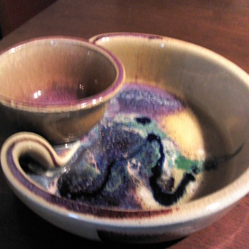 Studio Art Pottery Chip and Dip Signed