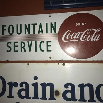 1940's Coca Cola Fountain Service sign