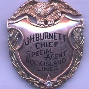 14K gold presentation badge belonging to Rock Island Railroad Chief Special Agent John H. Burnett - Railroadiana