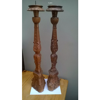 Monumental pair of 17th/18th Century Italian Altar Sticks
