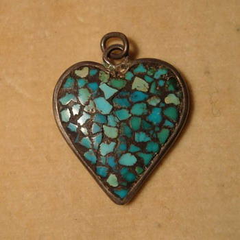 Indian Primitive Micromosaic Heart Pendant - Fine Jewelry