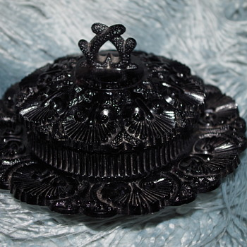 GEORGE DAVIDSON & CO JET BLACK GLASS BUTTER DISH WITH COVER