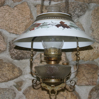 Dining room pull down oil lamp. All original , glass shade 14 in. diam