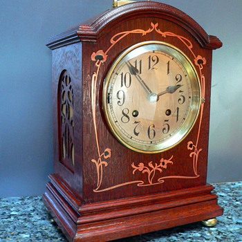 Oak Bracket  Clock with Copper Art Noveau Inlay - Clocks