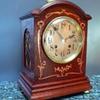 Oak Bracket  Clock with Copper Art Noveau Inlay