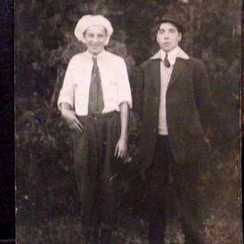 "Vintage Photo Of ""TWO CHUMS"". photo has tinted cheeks. Kodak Signature Penned Photo  1920s or B4?"