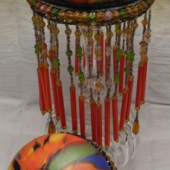 Bohemian Spatter glass beaded shades - Art Glass