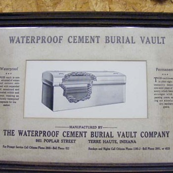 Cement Burial Vault framed advertisment - Advertising