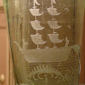 Handmade Green Antique Drinking Glass With Etched Drawing Of A Ship - Art Glass