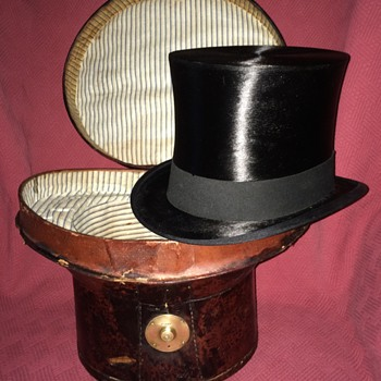 Antique Portuguese Silk Top Hat and Leather Case