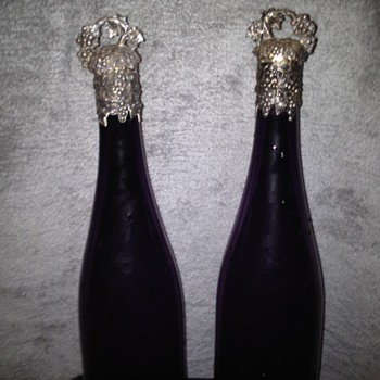 Amethyst Glass Sterling Topped Wine Decanters