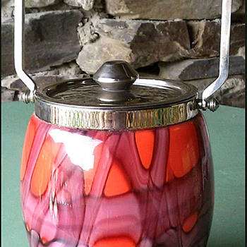 KRALIK WEB BISCUIT BARREL - COOKIE JAR - Art Glass