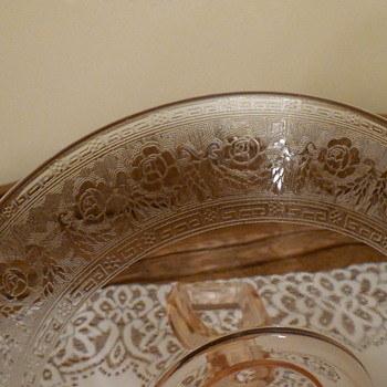 Depression Glass with Gold Edging