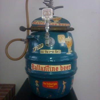 ballantine antique keg cooler