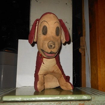 Antique Straw Stuffed Dog Doll - Animals
