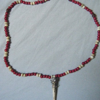 Native american antler pendant,red coral,bone bead + skull necklace