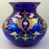 "Josephinenhütte Cobalt Blue ""Bronze-Cypern"" glass vase, enameled by Max Rade, ca. 1899"