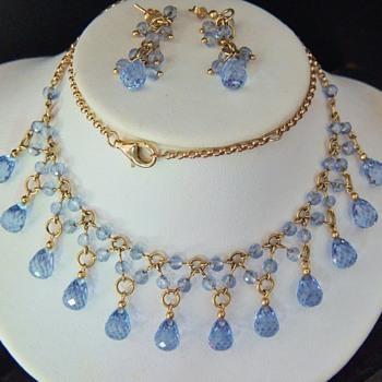 Vintage Blue Topaz Briolette 14k Demi Parure Earring Neklace Set - Fine Jewelry